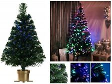 FIBRE OPTIC CHRISTMAS TREE COLOUR CHANGING XMAS LIGHT DECORATION 60CM GOLDEN