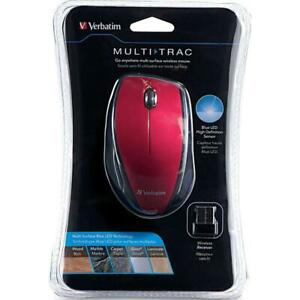 NEW Verbatim Multi-Trac Wireless Led Mouse Red