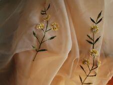 A Pair of Pretty 3D HandmadeYellow Flower Sheer Curtain 150x235cm Each