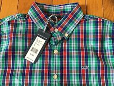 New Vineyard Vines Plaid Long Sleeve Button Down Front Whale Shirt Boys Large 16