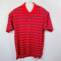 adidas Golf Clima Lite Polo Shirt Men's Size Large Striped Red/Gray