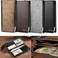Men's Bifold Leather Wallet Card Holder Billfold Clutch Zipper Men Pocket Purse