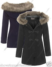 NEW Womens Duffle Parka Hood Fur WINTER COAT Ladies Jacket Size 8 10 12 14 16