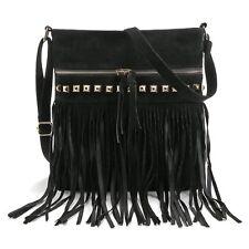 Women Faux Suede Leather Tassel Fringe Cross Body Shoulder Handbag Messenger Bag