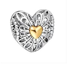 WYBeads Vintage Heart Charms Beads Fits PD Charms Bracelet Cheap Jewelry Si
