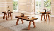 The Room Style 3Pcs Dirty Oak Finish Wooden Coffee Table, w/ 2 End Tables Set