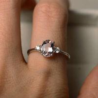 1.70 Ct Oval Morganite Wedding Ring 14K Solid White Gold Diamond Rings Size N