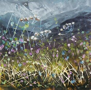 Wild Flower Hedgerow, Floral / Landscape Art. Original Acrylic Painting.