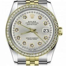 Rolex Oyster Perpetual Datejust Silver Face with Two Diamond Rows & Diamond Beze