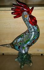 MURANO ART GLASS BIRD Mid Century SEGUSO ROOSTER RED SILVER FOIL END OF DAY
