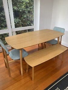 Freedom 6 Seat Timber Dining Table with Timber Bench Seats and Dining Chairs