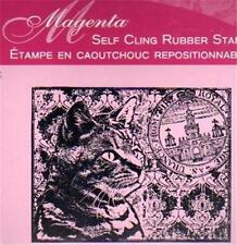 New MAGENTA RUBBER STAMP Tut Cat of the  Month 1/11 Cling Large free usa ship