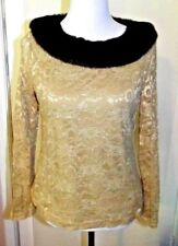 GEORGE Lace Knit Top w/ Faux fur collar Women's Size L  12/14 Long Sleeve