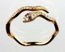 Snake Ring with Diamond and Ruby in 14k  Rose Gold( Dia 0.17)*