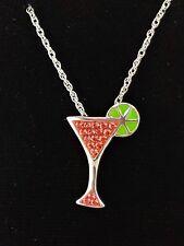 Swarovski Crystal Pink Cosmopolitan Cocktail Glass Lime Cosmo Pendant Necklace