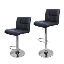 Set Of 2 PCS Adjustable Bar Stools PU Leather Barstools Swivel Pub Chairs Black