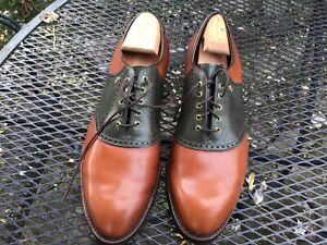 RARE VTG FootJoy 55848 Brown Green Saddle Oxfords Shoes 12-B-—MINT