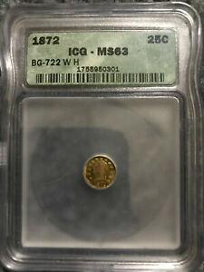 CALIFORNIA FRACTIONAL GOLD 25C - WASHINGTON HEAD - BG 722 - ICG MS63