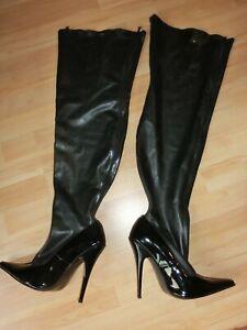 Latex Extrem High Heel Stiefel Gr.41, Abs13cm, Front- u. Rücken-RV ~77cm guter Z