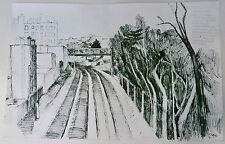 City Building Along the Tracks & Overpass 20 x 13 Ink Drawing-1969-August Mosca