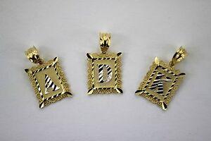 Authentic 10K Gold Initial Pendant Charm Plate Diamond Cut for Boys Men