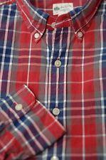 J. Crew Men's Red & Blue Washed Tartan Cotton Casual Shirt M Medium