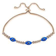 Rose Gold Tone over Sterling Silver Blue CZ Enamel Evil Eye Adjustable Bracelet