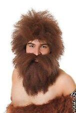 Caveman Hagrid Potter Fancy Dress Wig & Beard Set Brown for Mens