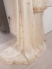 Seda Pura Bollywood Sari Anarkali de diseñador de Boda Vestido Lengha UK 12 a 14