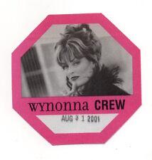 Wynonna 2001 Tour Satin Crew Backstage Pass, Unused