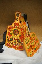 Vintage Collectible Russian Lacquer Hand Painted Wooden Cutting Boards Set of 2
