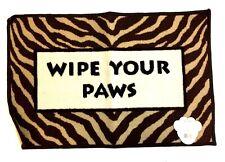 "Doormat Wipe Your Paw 20"" X 30"" Zebra Beige Brown 100% Nylon Made in Egypt"