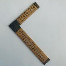 """Vintage Lufkin #8237 Dressmaker Tailor Square Rule Ruler 6"""" x 4"""" Boxwood & Brass"""