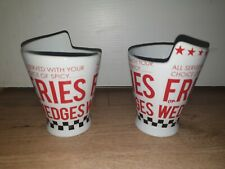 American Diner Retro Style French Fries Cup Holder Cone - Chip Serving Bowls