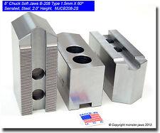 "8"" Steel Soft Jaws 1.5mm x 60° Serrated for B-208 Type Lathe Chucks (2.0"" HT)"