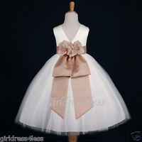 IVORY/CHAMPAGNE WEDDING FLOWER GIRL DRESS 12M-18M 2/2T 3/4 5/6 7/8 9/10 11/12