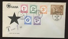 GHANA 1958 POSTAGE DUES CHALKY PAPER SET on ILLUSTRATED FDC
