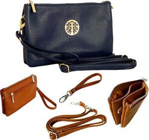 Large Navy Blue Clutch Bag Multi Compartment Cross Body Purse Wallet Wrist Strap