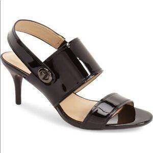 New($198) Coach Marla Slingback Sandal Patent Leather Heels Black NIB 5 - 11