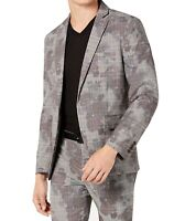 INC Mens Suit Jacket Gray Size 2XL Glen Plaid Camo Slim Fit Blazer $129 128