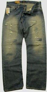Polo Ralph Lauren Men's SZ 38x32 Distressed Patched Classic Fit Rigid Blue Jeans