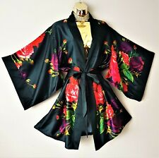 New Ted Baker Juxtapose Rose Black Red Nightwear Dressing Gown Robe Size 12-14
