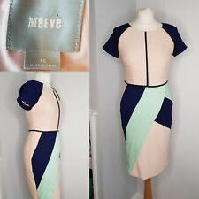 Maeve Anthropologie Dress Pink Green Bodycon Stretch Abstract UK 10
