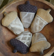 Primitive 5 Acorns Bowl Fillers Cupboard Tucks Fall Autumn Coffee Stained
