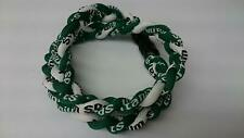 """HONGVILLE 18"""" Fashion Two Rope Sport Style Tornado Necklace Green/White"""