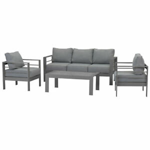 New Outdoor White Charcoal Aluminium Sofa Lounge Setting Garden Set Arms Chairs