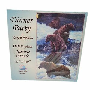 """SUNSOUT Gary Johnson DINNER PARTY 1000 Pc 9"""" x 30"""" Jigsaw Puzzle 2006 New Sealed"""