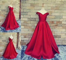 New Red Off Shoulder Satin A Line Prom Dress V neck Pageant Evening Formal Gown