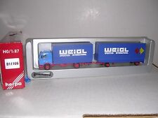 "Herpa #811166 Mercedes Cov Truck w/32' ""Weigl"" Cov. Trailor Blue H.O.Gauge"