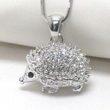 High Quality Crystal White Gold Plating Hedgehog Pendant Necklace Gift Box JM